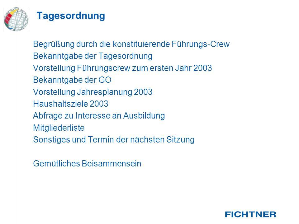 Die Führungs Crew 2002/2003 Ralf Epping - Schatzmeister - 02/1994 - BSP, SBFS Joe Linder - Vorsitzender - 12/1999 - BSP, SBFB, GMDSS Dr.