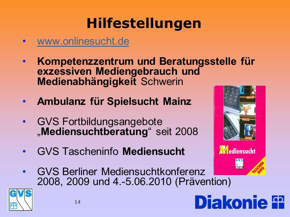 14 Hilfestellungen www.onlinesucht.de Kompetenzzentrum und Beratungsstelle für exzessiven Mediengebrauch und Medienabhängigkeit Schwerin Ambulanz für