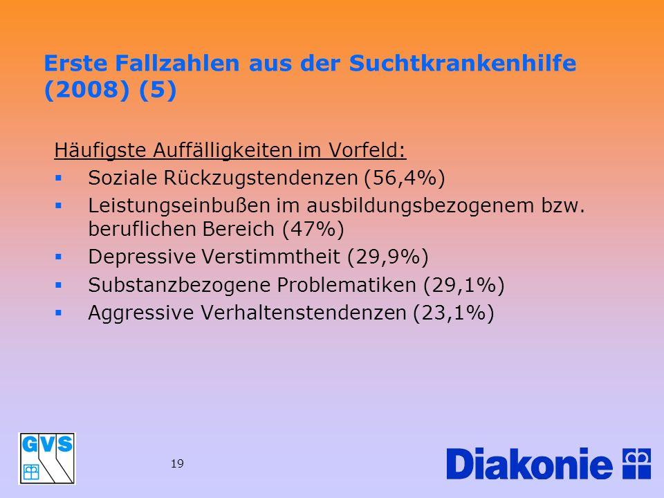 19 Häufigste Auffälligkeiten im Vorfeld: Soziale Rückzugstendenzen (56,4%) Leistungseinbußen im ausbildungsbezogenem bzw. beruflichen Bereich (47%) De