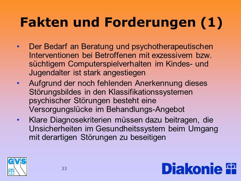 23 Fakten und Forderungen (1) Der Bedarf an Beratung und psychotherapeutischen Interventionen bei Betroffenen mit exzessivem bzw. süchtigem Computersp