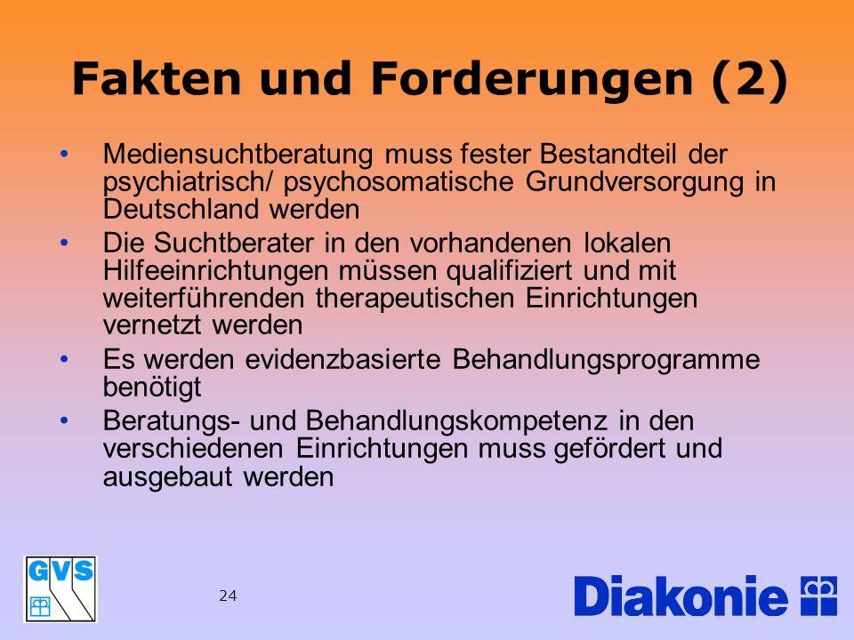 24 Fakten und Forderungen (2) Mediensuchtberatung muss fester Bestandteil der psychiatrisch/ psychosomatische Grundversorgung in Deutschland werden Di