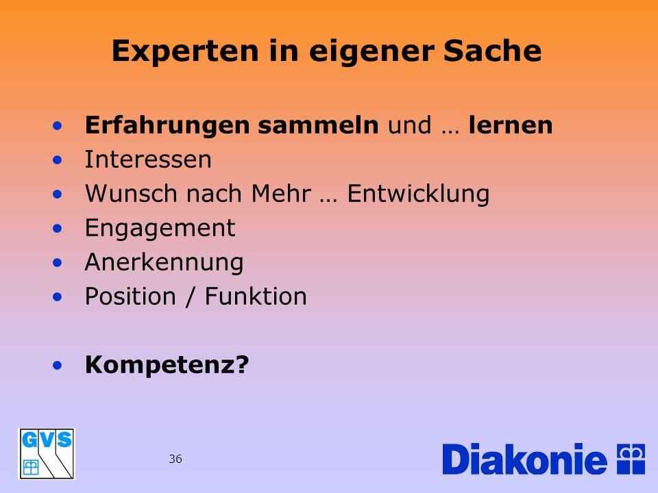 36 Experten in eigener Sache Erfahrungen sammeln und … lernen Interessen Wunsch nach Mehr … Entwicklung Engagement Anerkennung Position / Funktion Kom