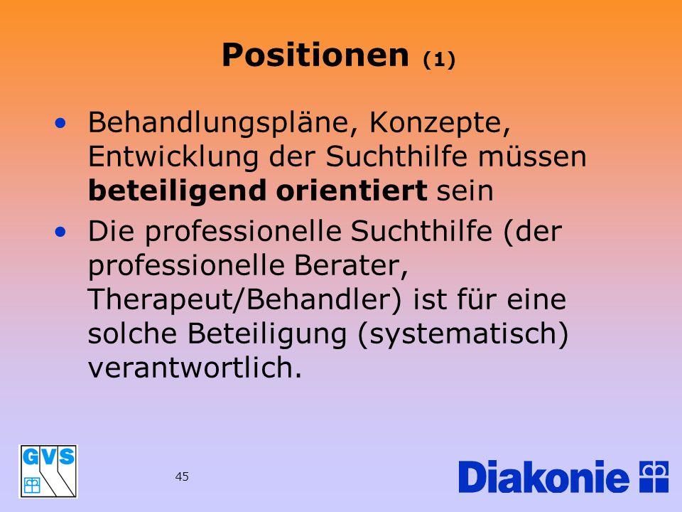 45 Positionen (1) Behandlungspläne, Konzepte, Entwicklung der Suchthilfe müssen beteiligend orientiert sein Die professionelle Suchthilfe (der profess