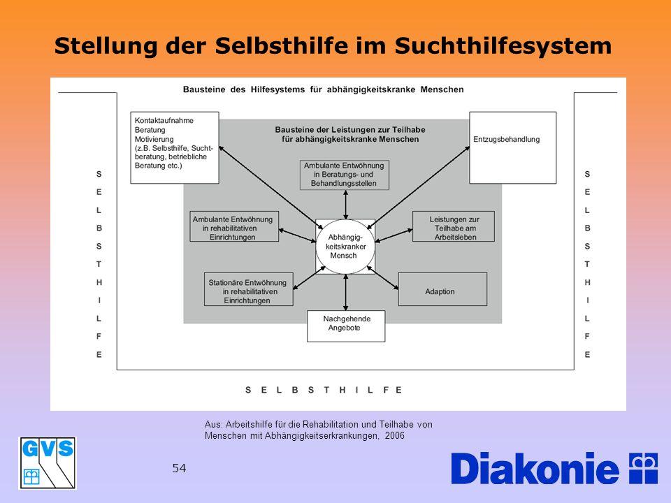 54 Stellung der Selbsthilfe im Suchthilfesystem Aus: Arbeitshilfe für die Rehabilitation und Teilhabe von Menschen mit Abhängigkeitserkrankungen, 2006