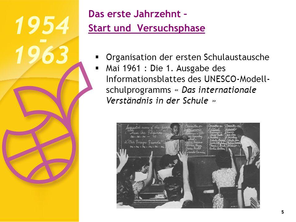 Das erste Jahrzehnt – Start und Versuchsphase 5 Organisation der ersten Schulaustausche Mai 1961 : Die 1.