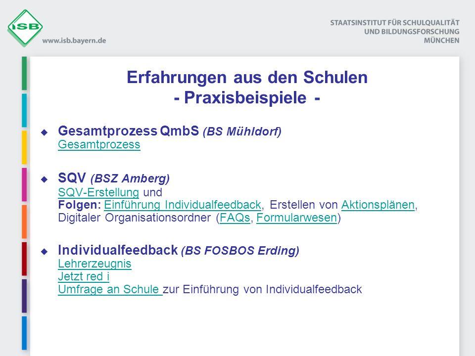 Erfahrungen aus den Schulen - Praxisbeispiele - Gesamtprozess QmbS (BS Mühldorf) Gesamtprozess Gesamtprozess SQV (BSZ Amberg) SQV-Erstellung und Folge
