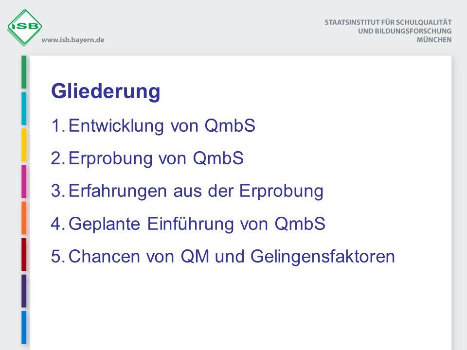 Gliederung 1.Entwicklung von QmbS 2.Erprobung von QmbS 3.Erfahrungen aus der Erprobung 4.Geplante Einführung von QmbS 5.Chancen von QM und Gelingensfa
