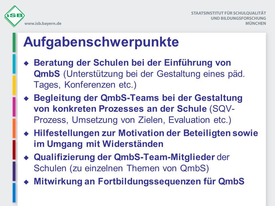 Aufgabenschwerpunkte Beratung der Schulen bei der Einführung von QmbS (Unterstützung bei der Gestaltung eines päd. Tages, Konferenzen etc.) Begleitung