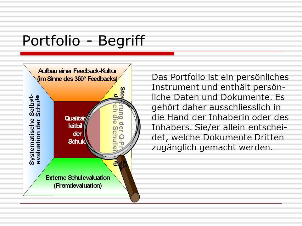 Portfolio - Begriff Das Portfolio ist ein persönliches Instrument und enthält persön- liche Daten und Dokumente.