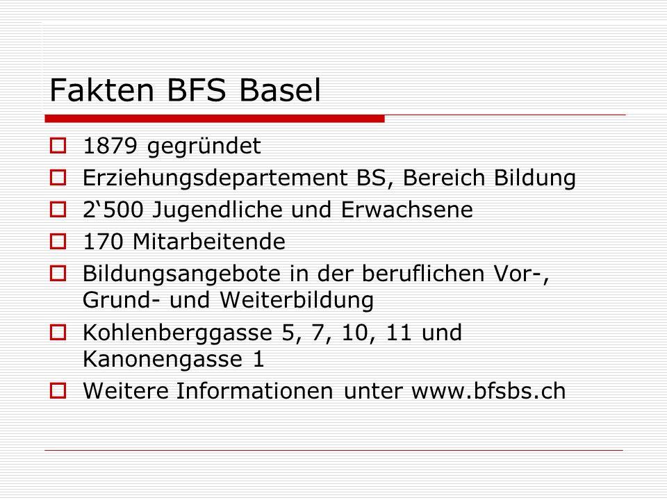 Fakten BFS Basel 1879 gegründet Erziehungsdepartement BS, Bereich Bildung 2500 Jugendliche und Erwachsene 170 Mitarbeitende Bildungsangebote in der beruflichen Vor-, Grund- und Weiterbildung Kohlenberggasse 5, 7, 10, 11 und Kanonengasse 1 Weitere Informationen unter www.bfsbs.ch