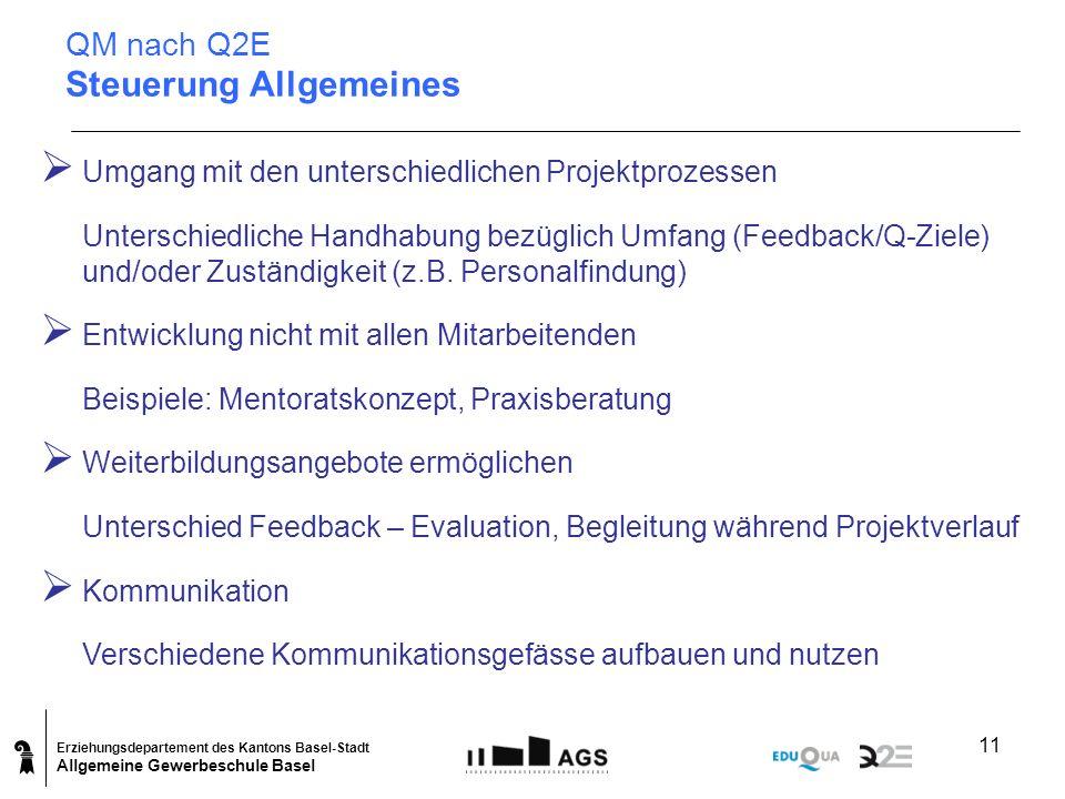 Erziehungsdepartement des Kantons Basel-Stadt Allgemeine Gewerbeschule Basel 11 Umgang mit den unterschiedlichen Projektprozessen Unterschiedliche Han