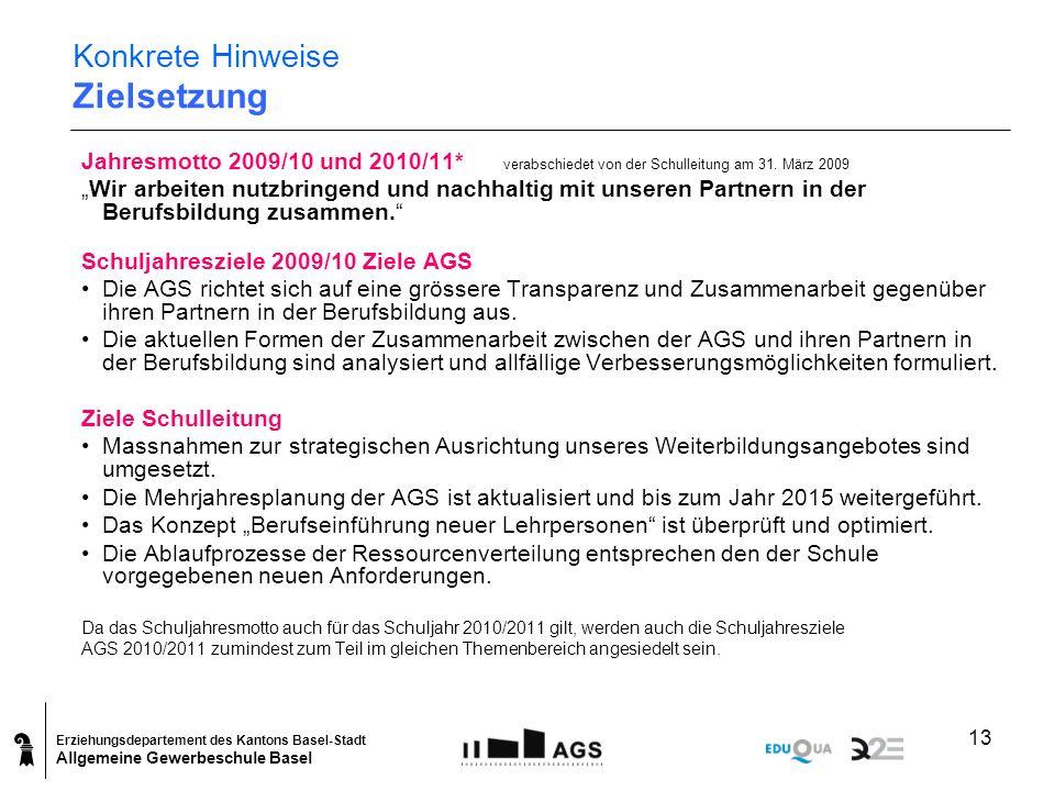 Erziehungsdepartement des Kantons Basel-Stadt Allgemeine Gewerbeschule Basel 13 Konkrete Hinweise Zielsetzung Jahresmotto 2009/10 und 2010/11* verabsc