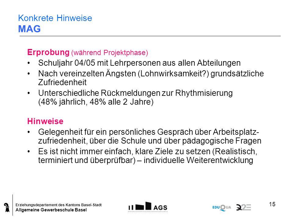 Erziehungsdepartement des Kantons Basel-Stadt Allgemeine Gewerbeschule Basel 15 Konkrete Hinweise MAG Erprobung (während Projektphase) Schuljahr 04/05