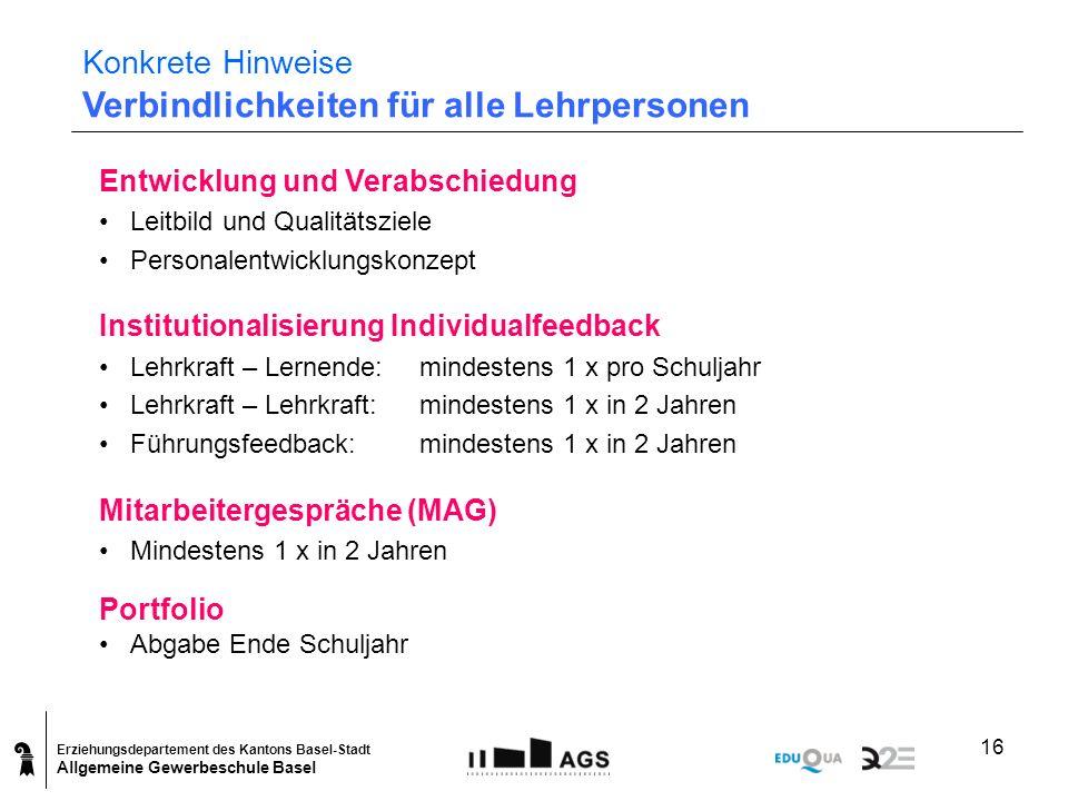 Erziehungsdepartement des Kantons Basel-Stadt Allgemeine Gewerbeschule Basel 16 Konkrete Hinweise Verbindlichkeiten für alle Lehrpersonen Entwicklung