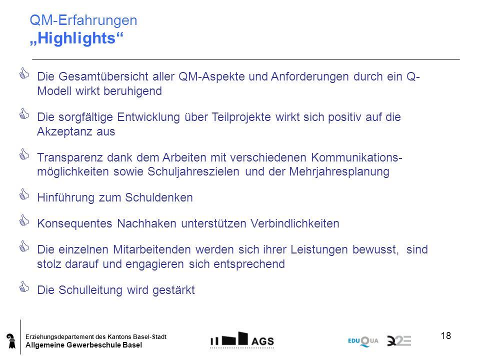 Erziehungsdepartement des Kantons Basel-Stadt Allgemeine Gewerbeschule Basel 18 Die Gesamtübersicht aller QM-Aspekte und Anforderungen durch ein Q- Mo