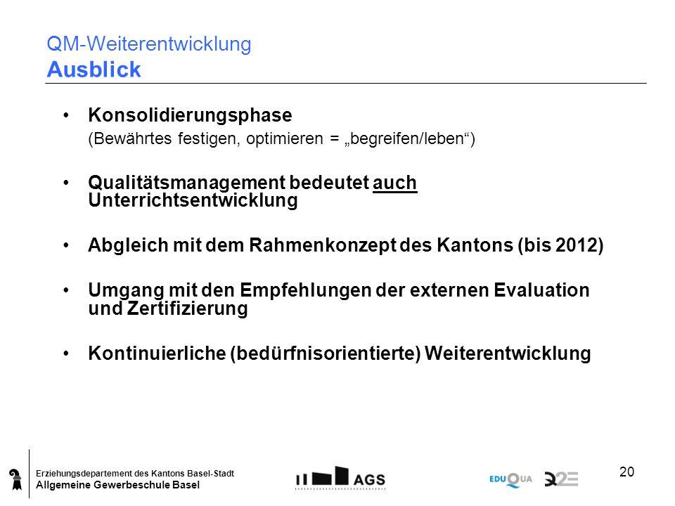 Erziehungsdepartement des Kantons Basel-Stadt Allgemeine Gewerbeschule Basel 20 QM-Weiterentwicklung Ausblick Konsolidierungsphase (Bewährtes festigen