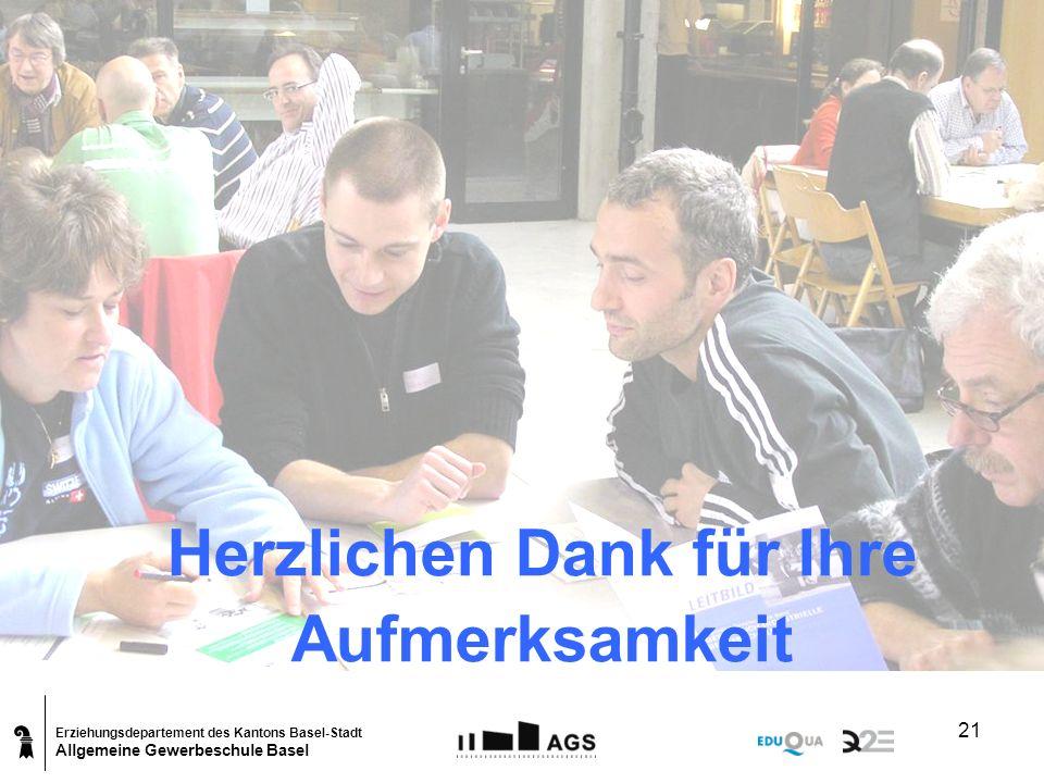 Erziehungsdepartement des Kantons Basel-Stadt Allgemeine Gewerbeschule Basel 21 Herzlichen Dank für Ihre Aufmerksamkeit