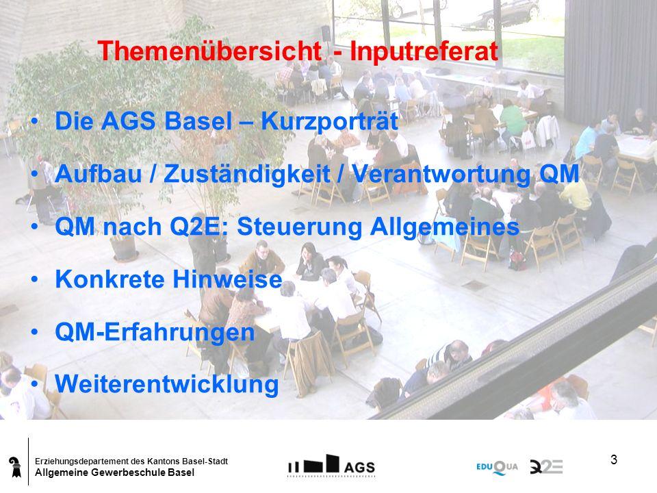 Erziehungsdepartement des Kantons Basel-Stadt Allgemeine Gewerbeschule Basel 4 Die AGS Basel – Kurzporträt Organigramm AGS Basel Der Direktor, die Leiterin der Verwaltung und die Leiter/Leiterin der 3 Fachabteilungen und 3 Quer- schnittabteilungen bilden zusammen die Schulleitung.