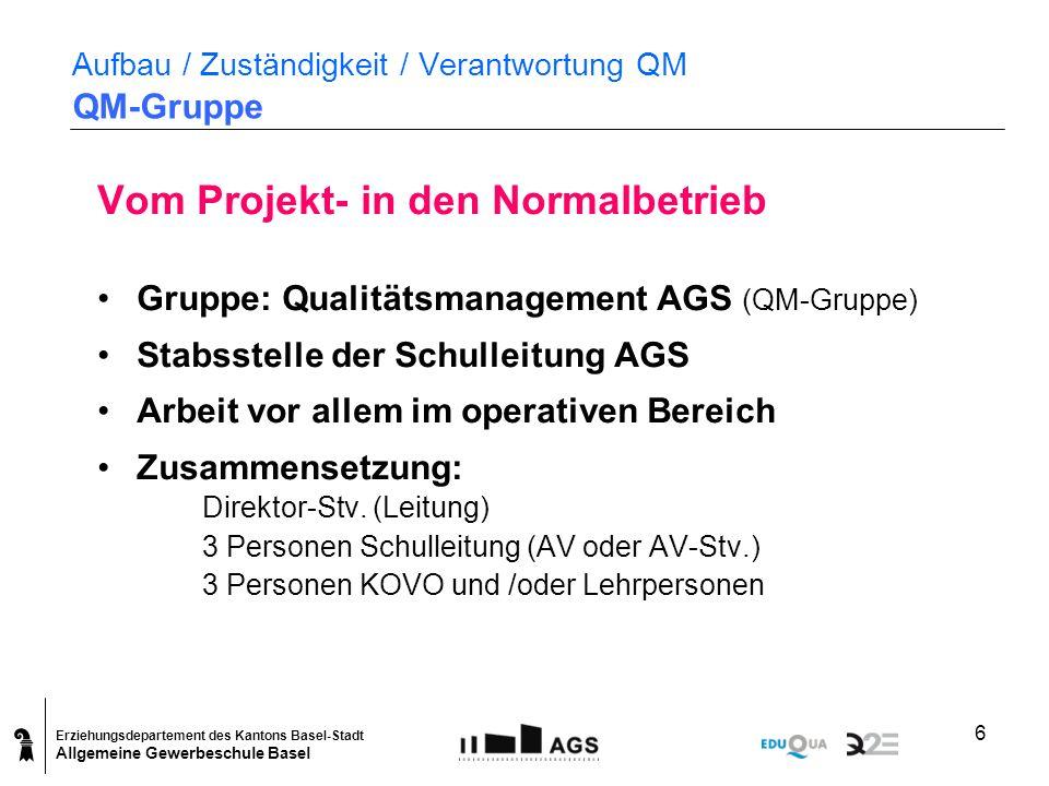 Erziehungsdepartement des Kantons Basel-Stadt Allgemeine Gewerbeschule Basel 6 Aufbau / Zuständigkeit / Verantwortung QM QM-Gruppe Vom Projekt- in den