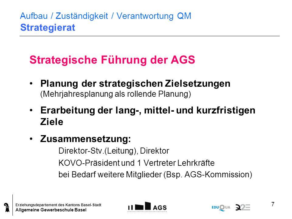 Erziehungsdepartement des Kantons Basel-Stadt Allgemeine Gewerbeschule Basel 7 Aufbau / Zuständigkeit / Verantwortung QM Strategierat Strategische Füh