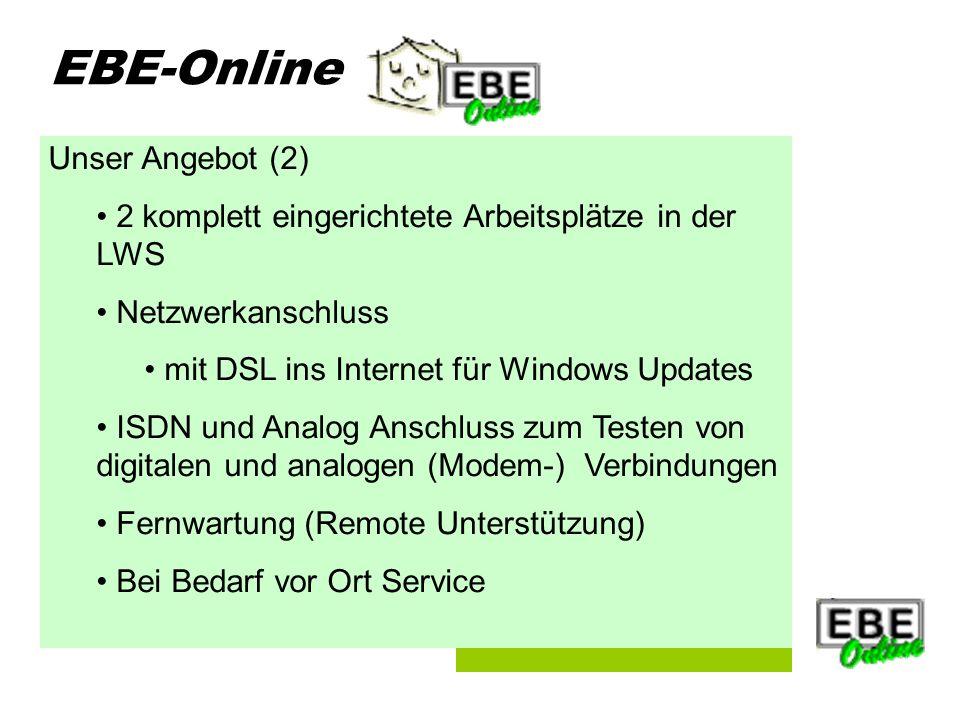 Folie 5 EBE-Online Unser Angebot (2) 2 komplett eingerichtete Arbeitsplätze in der LWS Netzwerkanschluss mit DSL ins Internet für Windows Updates ISDN und Analog Anschluss zum Testen von digitalen und analogen (Modem-) Verbindungen Fernwartung (Remote Unterstützung) Bei Bedarf vor Ort Service