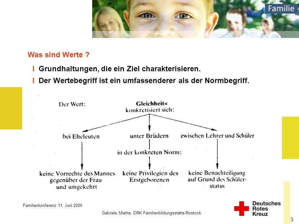 Familienkonferenz 11. Juni 2009 Gabriele Miethe, DRK Familienbildungsstätte Rostock 3 Was sind Werte ? I Der Wertebegriff ist ein umfassenderer als de