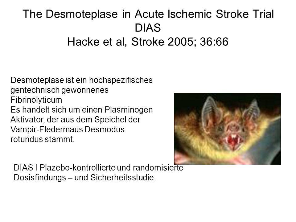 The Desmoteplase in Acute Ischemic Stroke Trial DIAS Hacke et al, Stroke 2005; 36:66 Desmoteplase ist ein hochspezifisches gentechnisch gewonnenes Fib