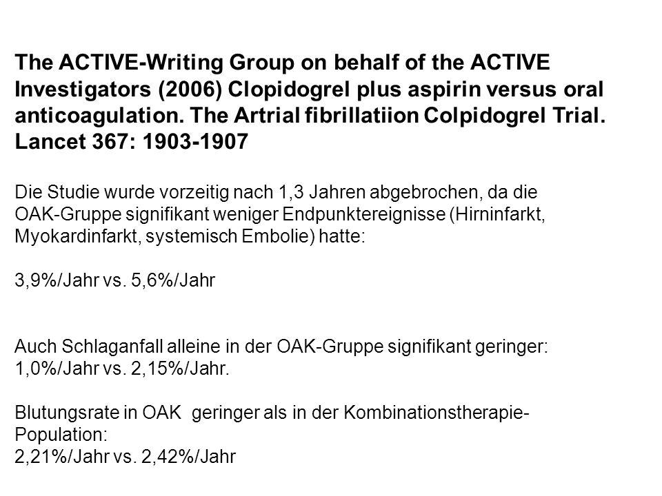 The ACTIVE-Writing Group on behalf of the ACTIVE Investigators (2006) Clopidogrel plus aspirin versus oral anticoagulation. The Artrial fibrillatiion