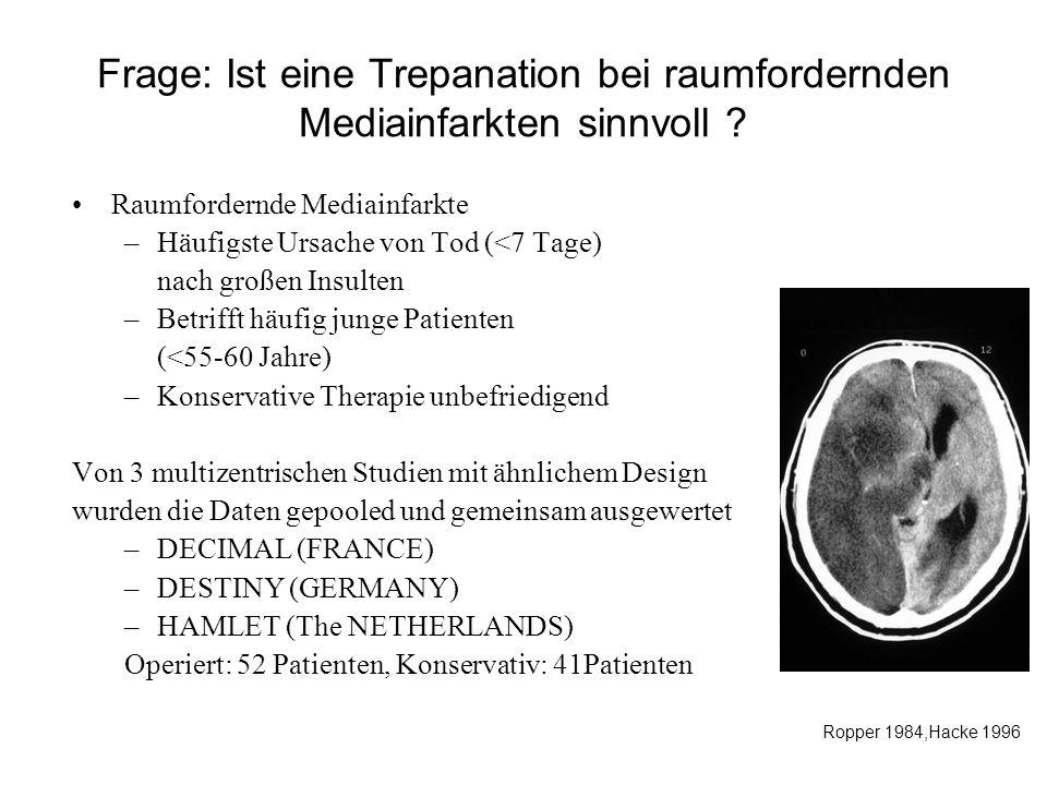 Frage: Ist eine Trepanation bei raumfordernden Mediainfarkten sinnvoll ? Raumfordernde Mediainfarkte –Häufigste Ursache von Tod (<7 Tage) nach großen
