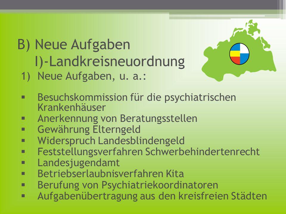 B) Neue Aufgaben I)-Landkreisneuordnung 1)Neue Aufgaben, u. a.: Besuchskommission für die psychiatrischen Krankenhäuser Anerkennung von Beratungsstell