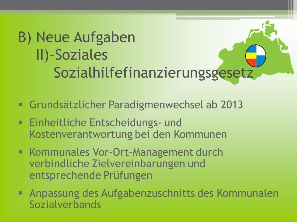 B) Neue Aufgaben II)-Soziales Sozialhilfefinanzierungsgesetz Grundsätzlicher Paradigmenwechsel ab 2013 Einheitliche Entscheidungs- und Kostenverantwor