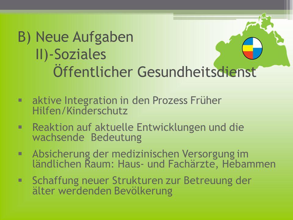 B) Neue Aufgaben II)-Soziales Öffentlicher Gesundheitsdienst aktive Integration in den Prozess Früher Hilfen/Kinderschutz Reaktion auf aktuelle Entwic