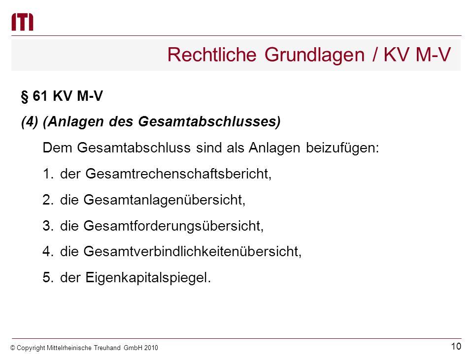 9 © Copyright Mittelrheinische Treuhand GmbH 2010 Rechtliche Grundlagen / KV M-V § 61 KV M-V (3)(Bestandteile des Gesamtabschlusses) Der Gesamtabschlu