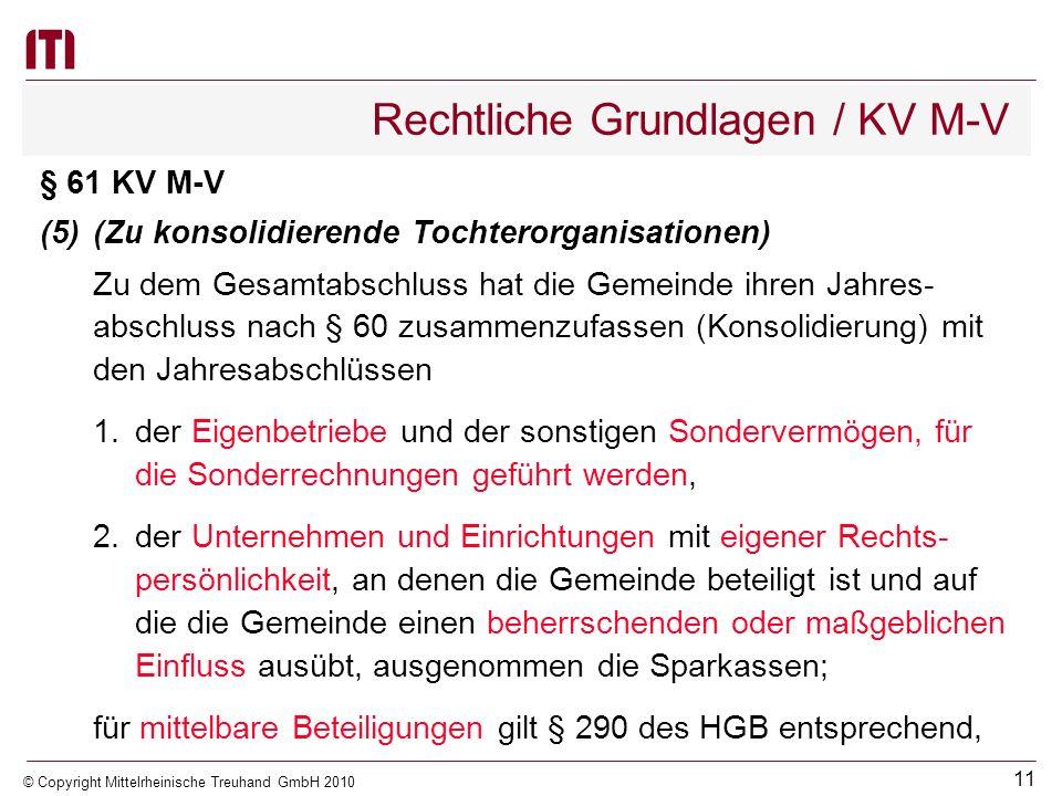 10 © Copyright Mittelrheinische Treuhand GmbH 2010 Rechtliche Grundlagen / KV M-V § 61 KV M-V (4)(Anlagen des Gesamtabschlusses) Dem Gesamtabschluss s