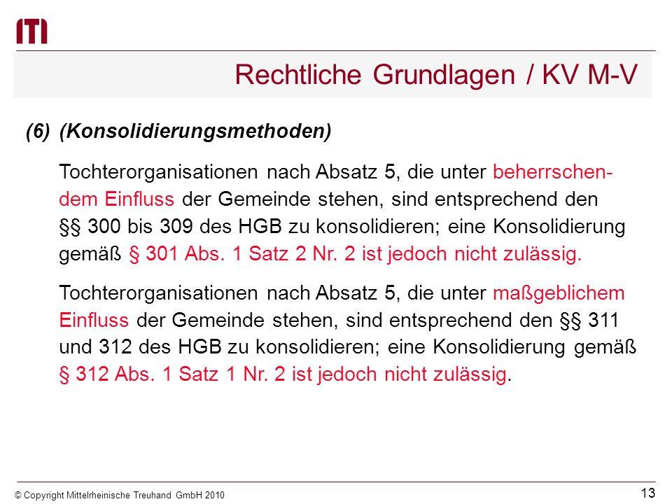 12 © Copyright Mittelrheinische Treuhand GmbH 2010 Rechtliche Grundlagen / KV M-V 3.der Zweckverbände, bei den die Gemeinde Mitglied mit be- herrschen