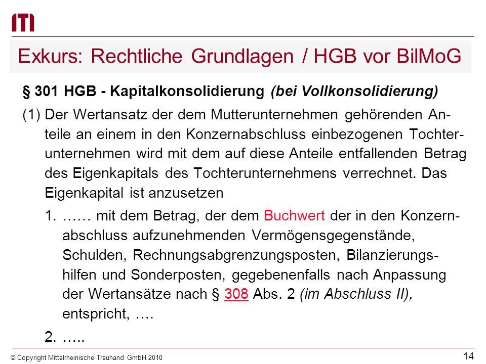 13 © Copyright Mittelrheinische Treuhand GmbH 2010 Rechtliche Grundlagen / KV M-V (6)(Konsolidierungsmethoden) Tochterorganisationen nach Absatz 5, di