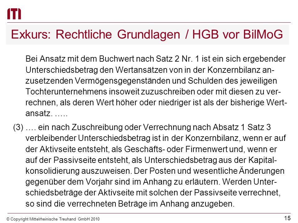14 © Copyright Mittelrheinische Treuhand GmbH 2010 Exkurs: Rechtliche Grundlagen / HGB vor BilMoG § 301 HGB - Kapitalkonsolidierung (bei Vollkonsolidi