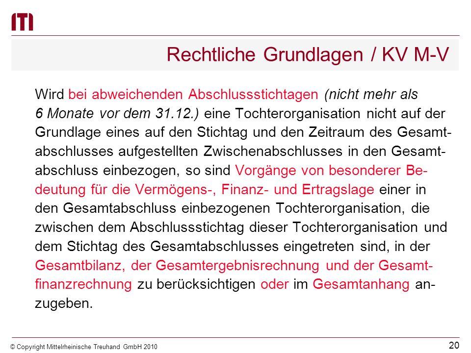 19 © Copyright Mittelrheinische Treuhand GmbH 2010 Rechtliche Grundlagen / KV M-V (8)(Stichtag der einzubeziehenden Jahresabschlüsse) Die Jahresabschl