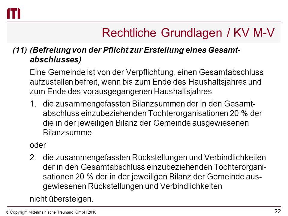 21 © Copyright Mittelrheinische Treuhand GmbH 2010 Rechtliche Grundlagen / KV M-V (9)(Aufstellungszeitraum) Der Gesamtabschluss ist innerhalb von neun