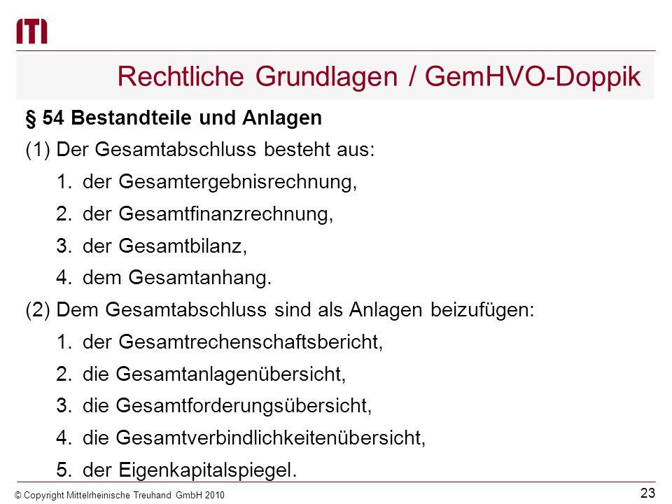 22 © Copyright Mittelrheinische Treuhand GmbH 2010 Rechtliche Grundlagen / KV M-V (11)(Befreiung von der Pflicht zur Erstellung eines Gesamt- abschlus