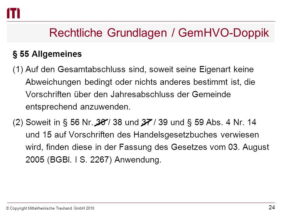 23 © Copyright Mittelrheinische Treuhand GmbH 2010 Rechtliche Grundlagen / GemHVO-Doppik § 54 Bestandteile und Anlagen (1)Der Gesamtabschluss besteht