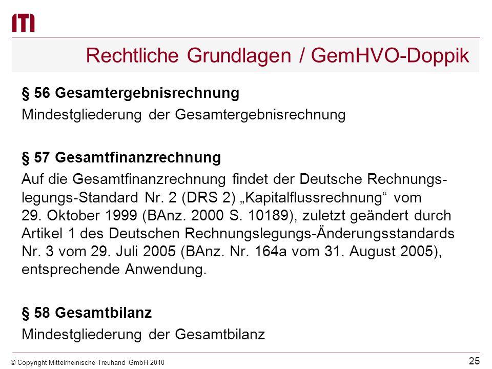 24 © Copyright Mittelrheinische Treuhand GmbH 2010 Rechtliche Grundlagen / GemHVO-Doppik § 55 Allgemeines (1)Auf den Gesamtabschluss sind, soweit sein
