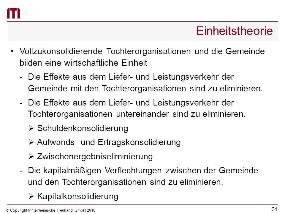 30 © Copyright Mittelrheinische Treuhand GmbH 2010 Zweck des Gesamtabschlusses Ziele der öffentlichen Konzernrechnungslegung Informationsfunktion für