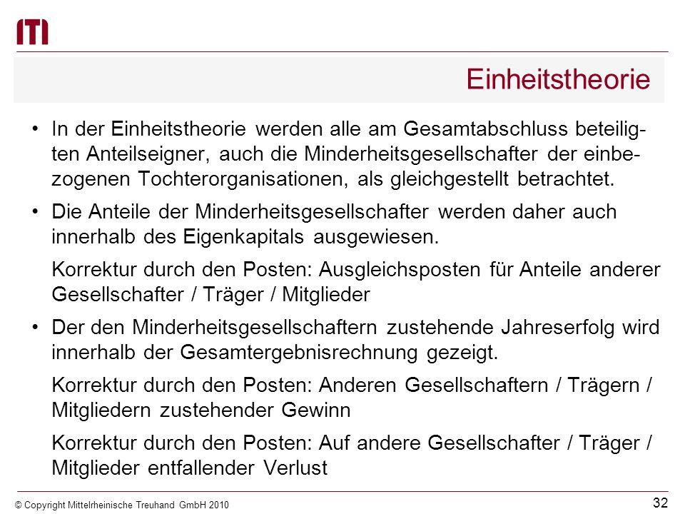 31 © Copyright Mittelrheinische Treuhand GmbH 2010 Einheitstheorie Vollzukonsolidierende Tochterorganisationen und die Gemeinde bilden eine wirtschaft