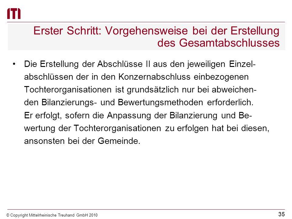 34 © Copyright Mittelrheinische Treuhand GmbH 2010 Erster Schritt: Vorgehensweise bei der Erstellung des Gesamtabschlusses Erster Schritt Alle in den