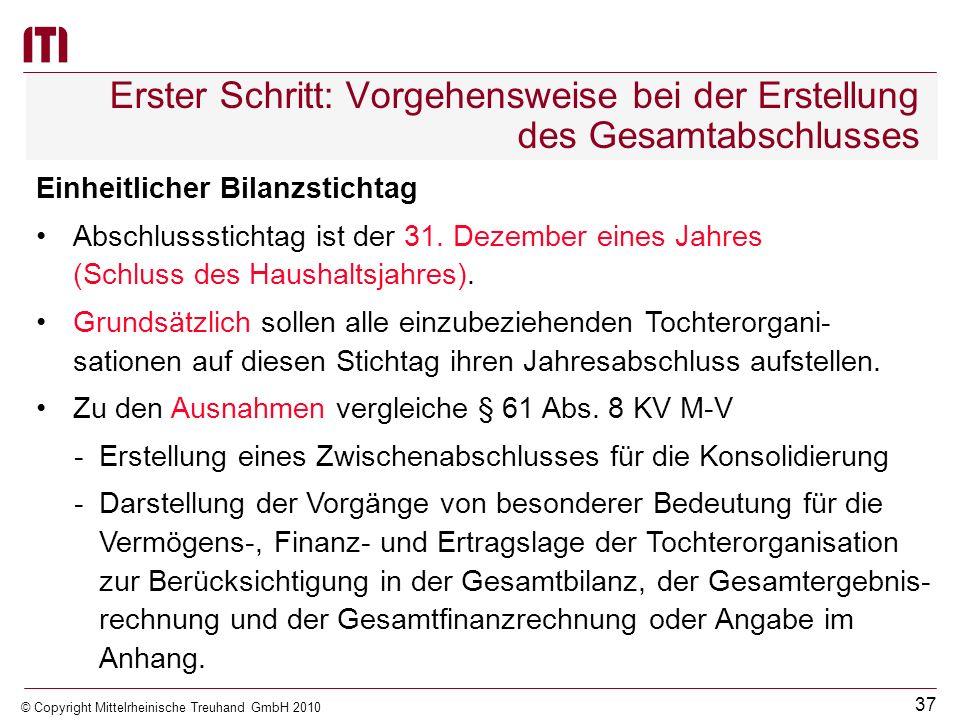 36 © Copyright Mittelrheinische Treuhand GmbH 2010 Erster Schritt: Vorgehensweise bei der Erstellung des Gesamtabschlusses Abweichungen der Rechnungsl