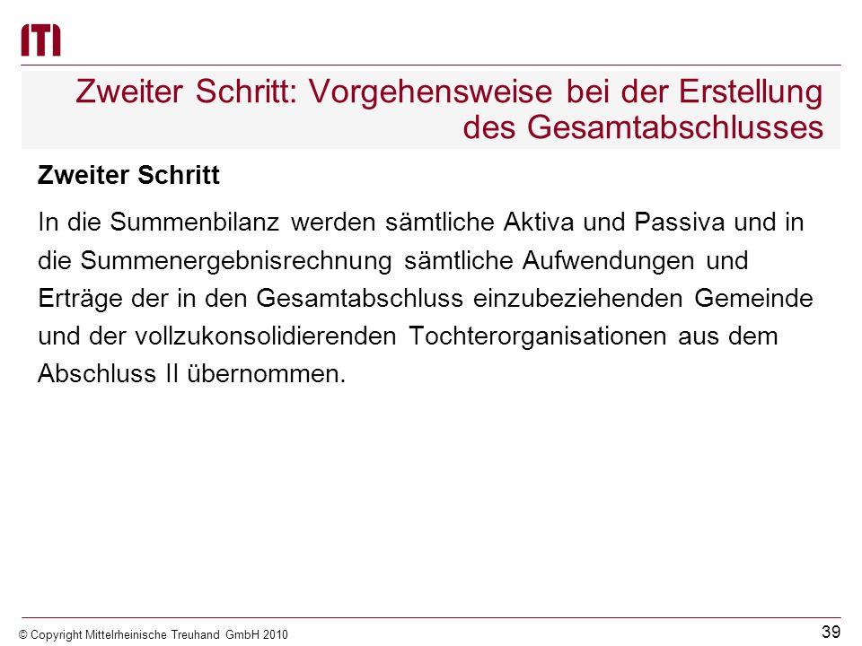 38 © Copyright Mittelrheinische Treuhand GmbH 2010 Erster Schritt: Vorgehensweise bei der Erstellung des Gesamtabschlusses Währungsumrechnung Die Währ