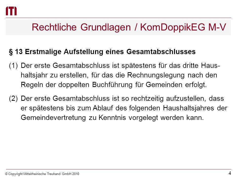 3 © Copyright Mittelrheinische Treuhand GmbH 2010 Rechtliche Grundlagen Deutscher Rechnungslegungs Standard (DRS) Landesrechtliche Regelungen KomDoppi