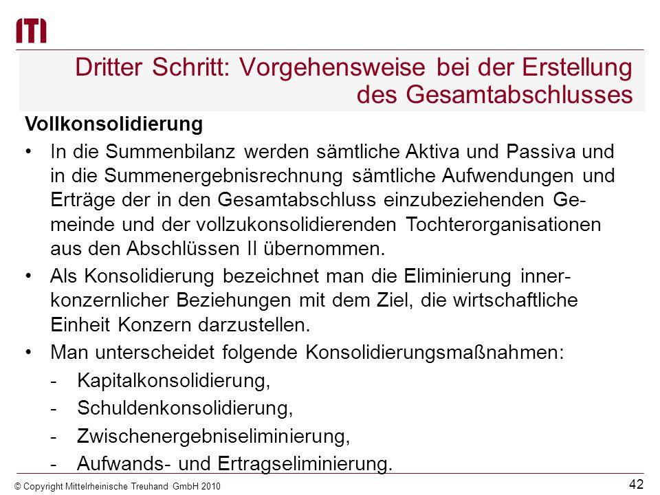 41 © Copyright Mittelrheinische Treuhand GmbH 2010 Dritter Schritt: Vorgehensweise bei der Erstellung des Gesamtabschlusses Gemeinde übt auf Tochteror