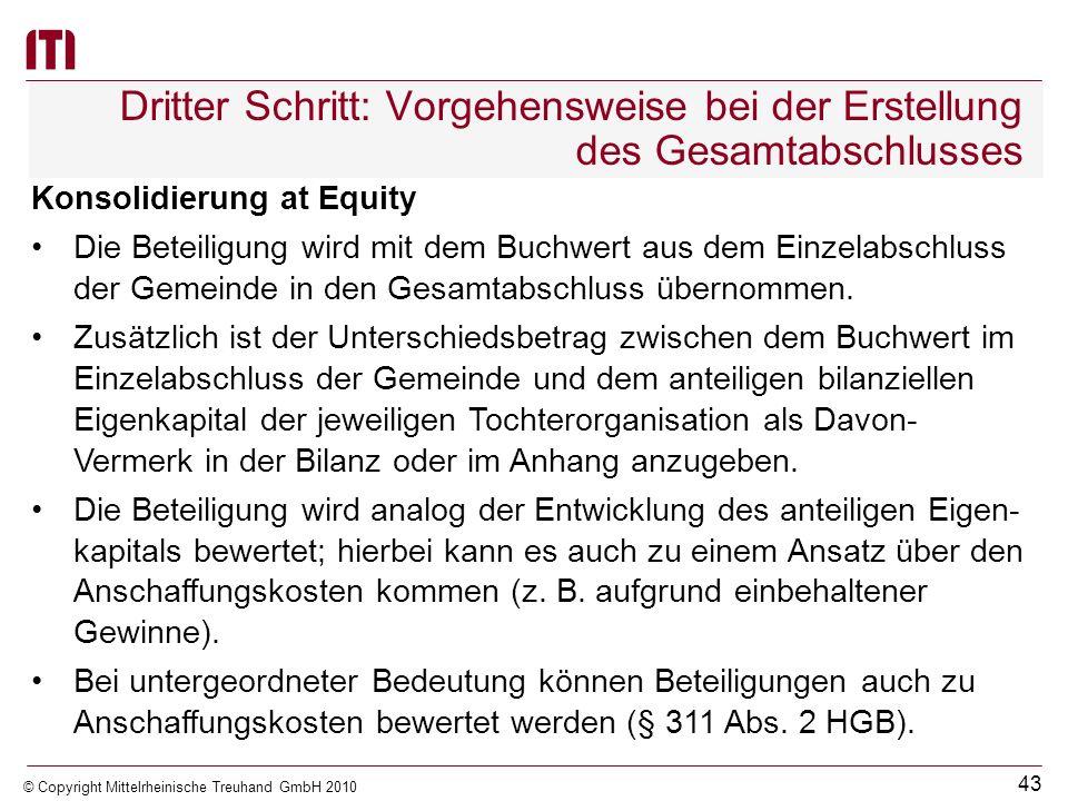 42 © Copyright Mittelrheinische Treuhand GmbH 2010 Dritter Schritt: Vorgehensweise bei der Erstellung des Gesamtabschlusses Vollkonsolidierung In die